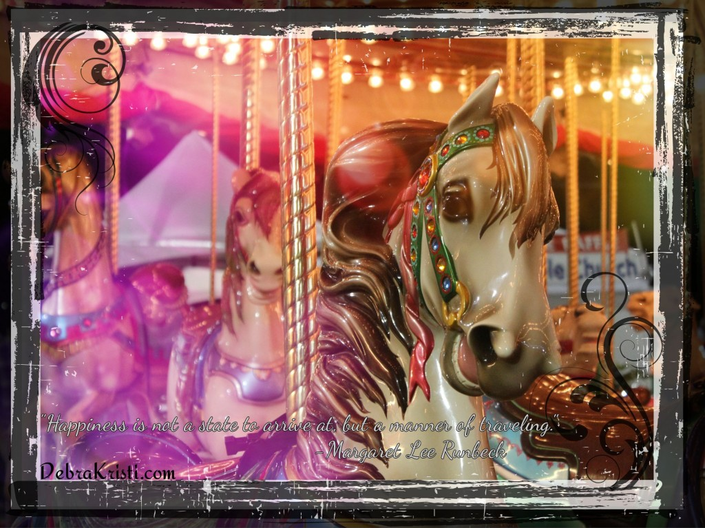 Carnival Carousel Horse w/quote in A Carnival, A Circus, and A Notebook post by Debra Kristi author